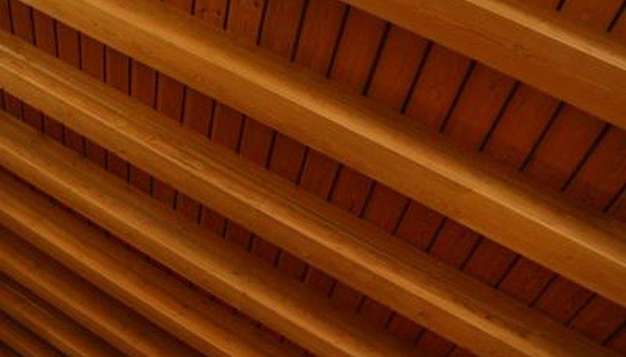 Wood ceiling beams have a rustic look.