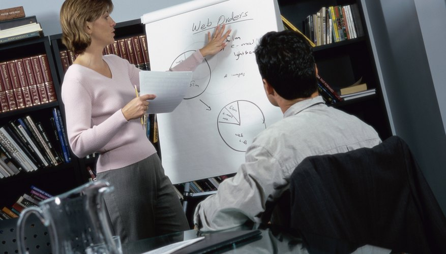 A woman and man are going over business ideas in an office.