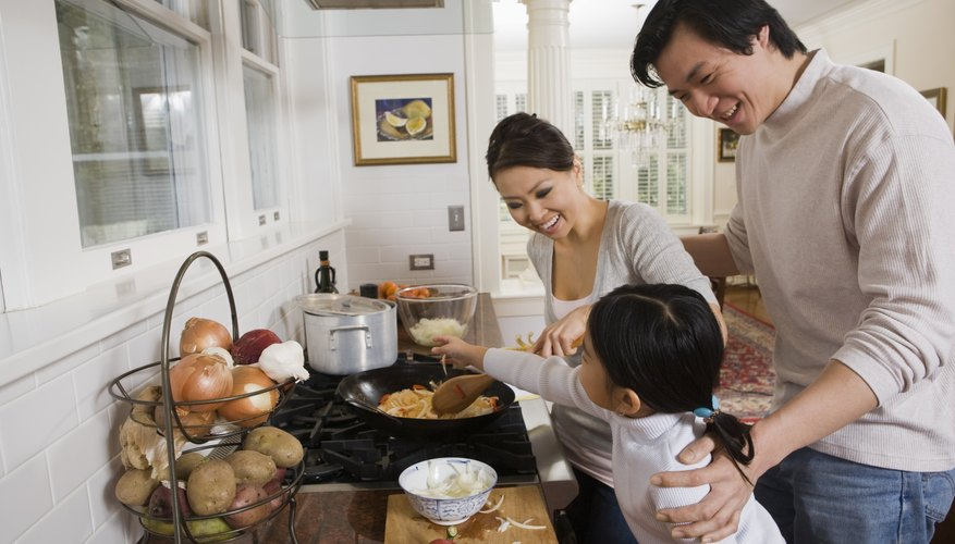 Chinese family making dinner