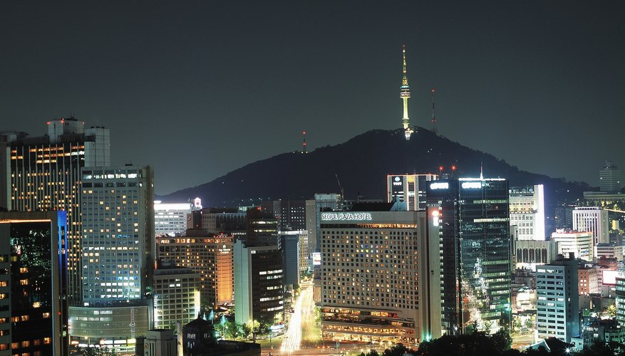 Seoul has grown into a major city for business, as evidenced by its glittering skyline.