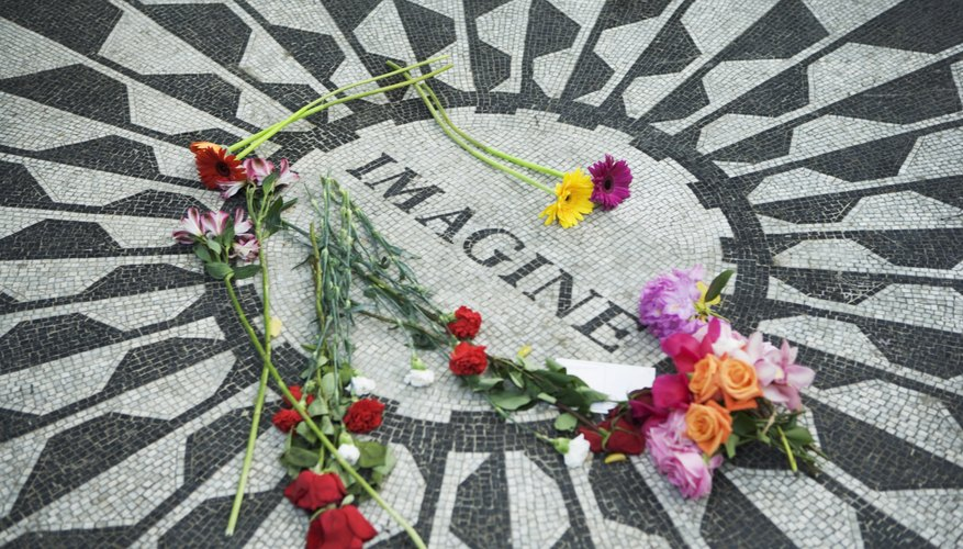 The John Lennon memorial in Central Park is located right by the location where he was shot.