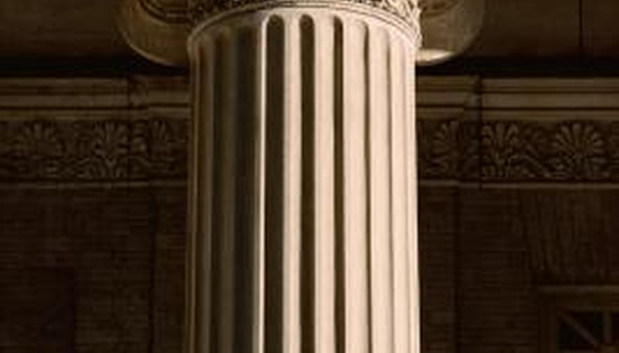 An ionic column is an integral feature of Roman architecture.