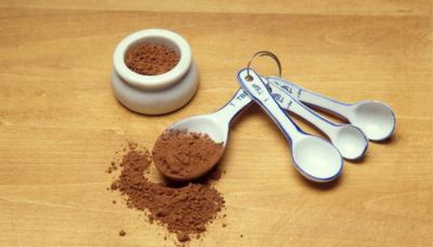 Cocoa powder tends to be measured by spoonfuls, and flour measured by cups.