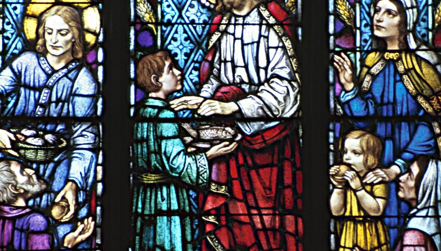 Stained glass window depicting Jesus Christ, Catholicism's founder.