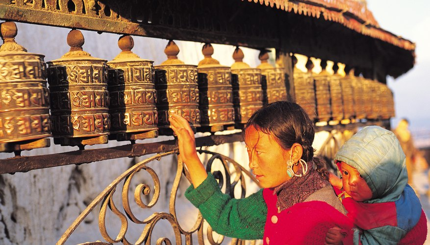 Good karma is created through the spinning of prayer wheels, which send prayers through the wind to the world.