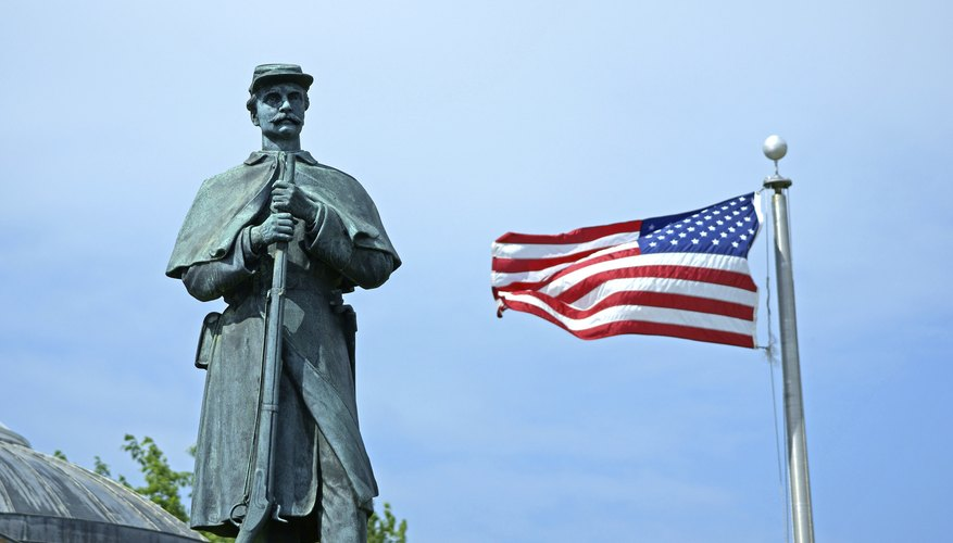 Civil War monument beside an American flag.