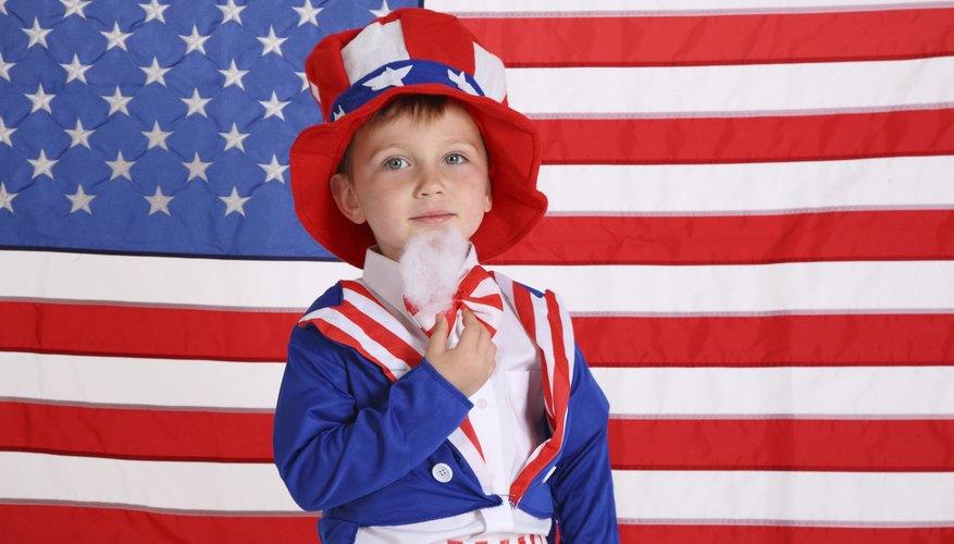 Boy wearing Uncle Sam costume.