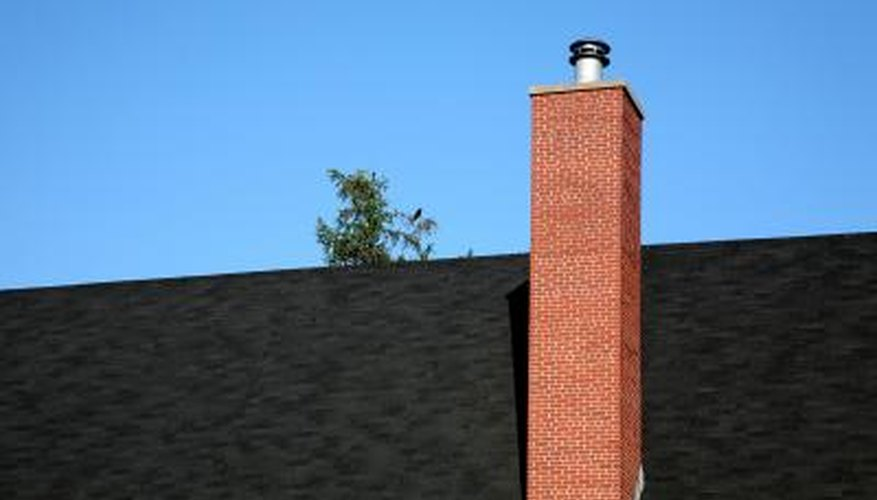 Cementitious mortar forms a watertight bond between bricks in a chimney.