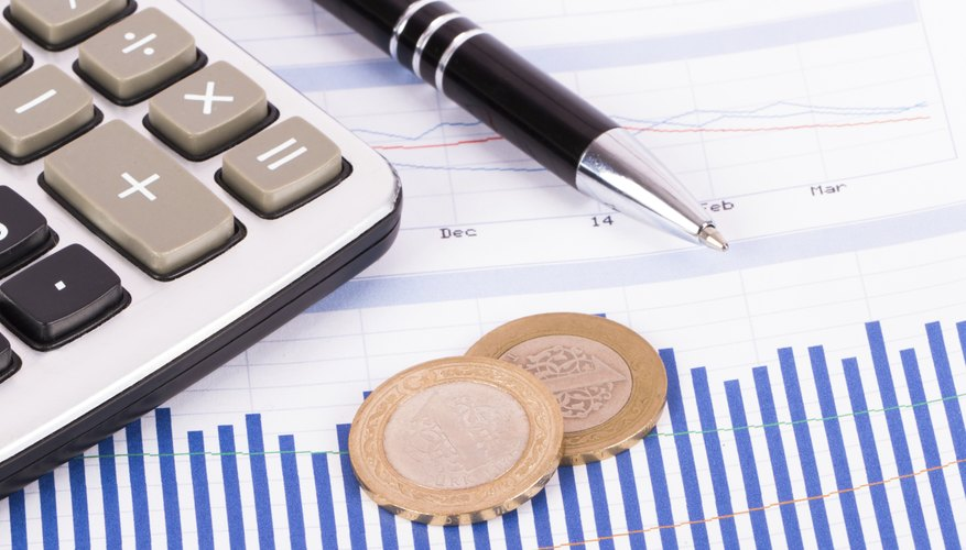 Close-up of graph, calculator and foreign currency
