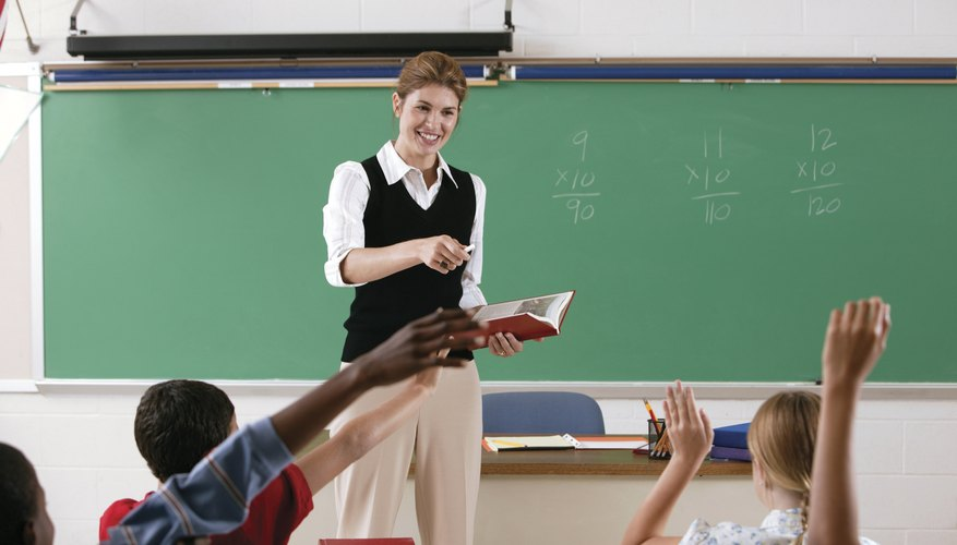 Teacher calling on students in classroom.