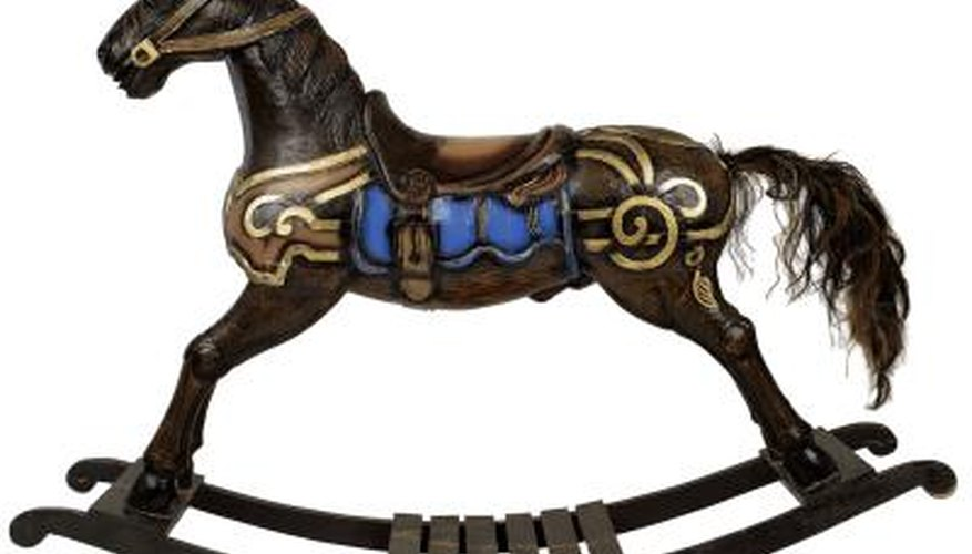Rocking horses can be painted in realistic or fantasy themes.