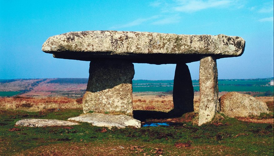 Dolmens, once covered with earth, are ancient Celtic grave sites.
