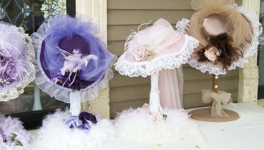 Victorian hats on display.
