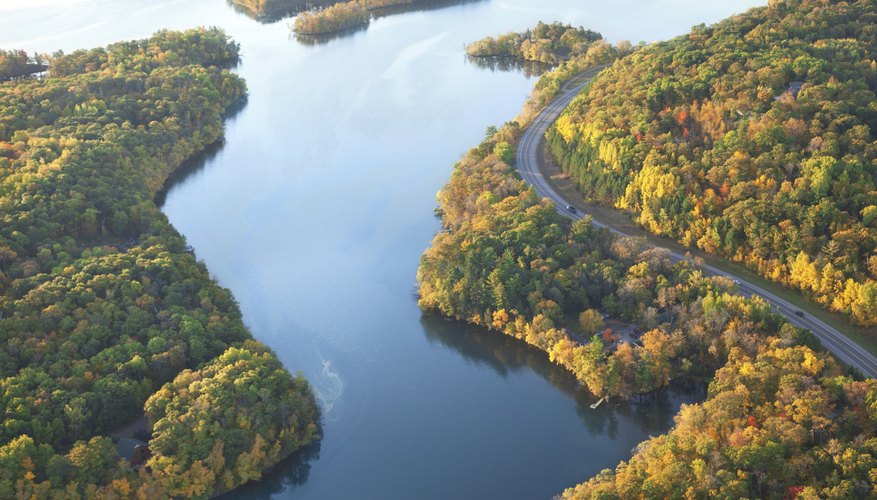 Aerial shot of the Mississippi River