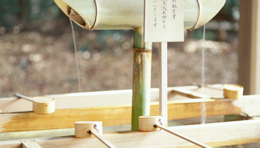 Water is made available at the entrance to Shinto shrines for visitors to wash their hands and mouths.