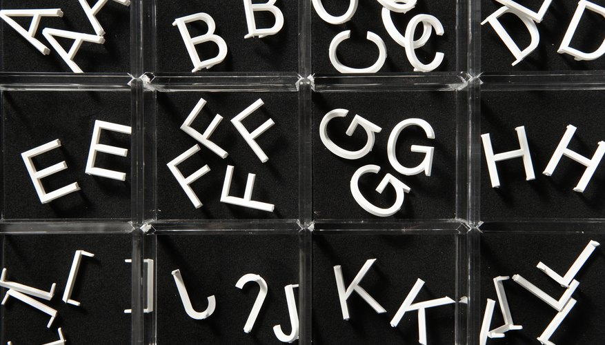 Small bins with alphabet letters.