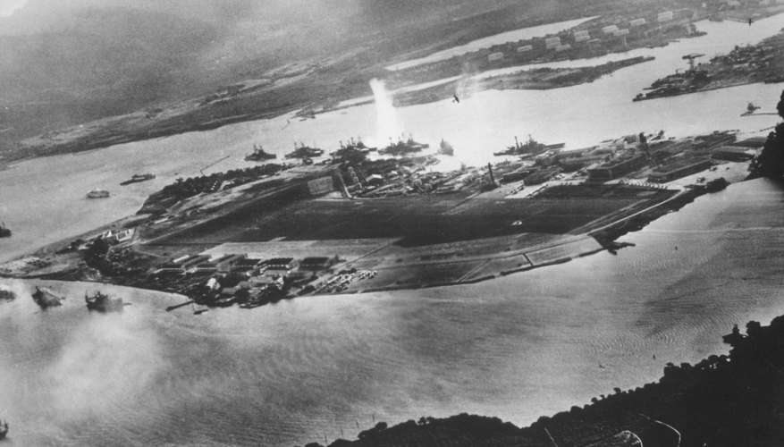 Aerial view of Japanese attack on Pearl Harbor taken from Japanese plane; Dec. 7, 1941