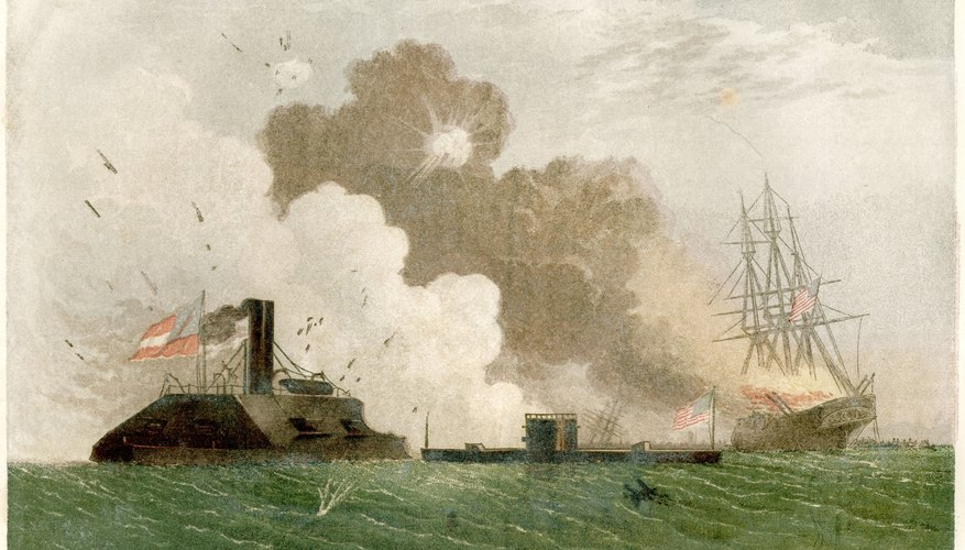 Paintings such as this one of the battle between the Merrimack and Monitor brought the Civil War to life.