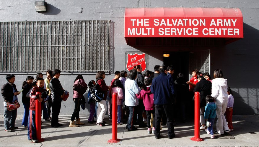 Line outside a Salvation Army store