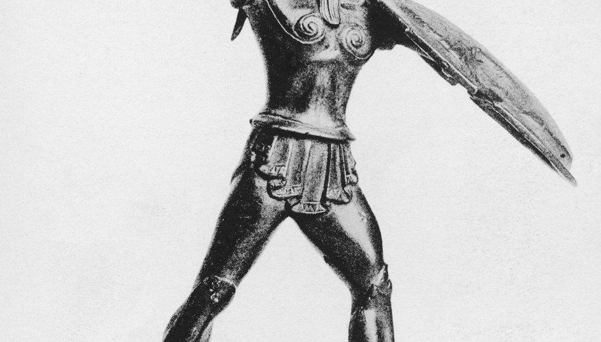 A Greek hoplight wearing his Corinthian helmet with horsehair crest.