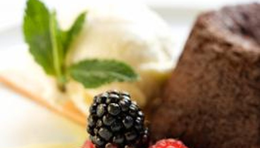 Enjoy a piece of leftover cake with fresh fruit.