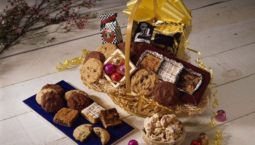 A gift basket of your boyfriend's favorite treats can lift his spirits.