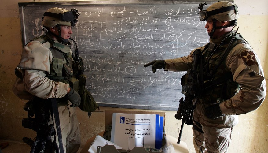 U.S Army Captain and Lieutenant Colonel discuss mission details in make-shift office.