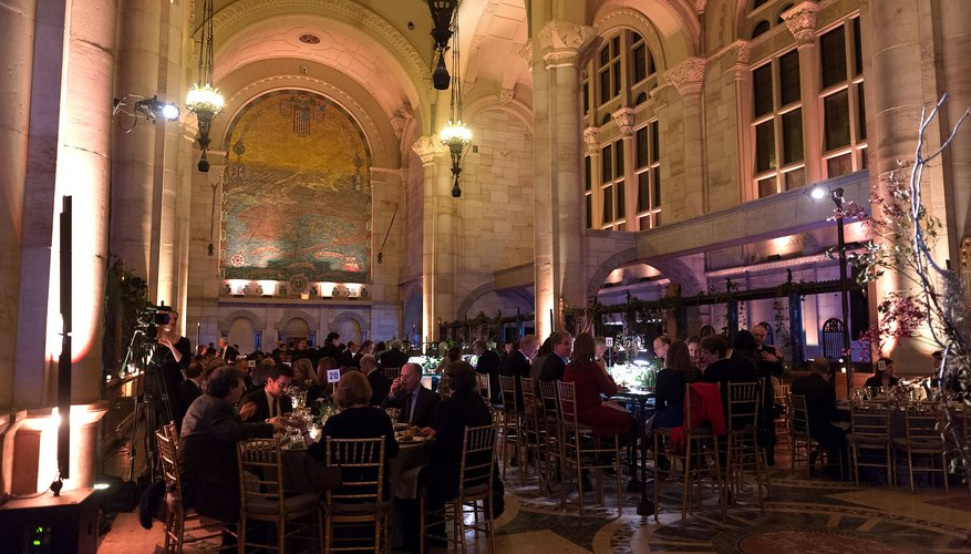 Guests enjoy dinner at the BAM Theater Gala in New York City.