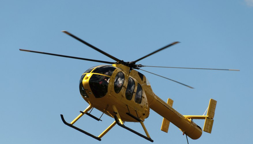 A tourist helicopter in flight.
