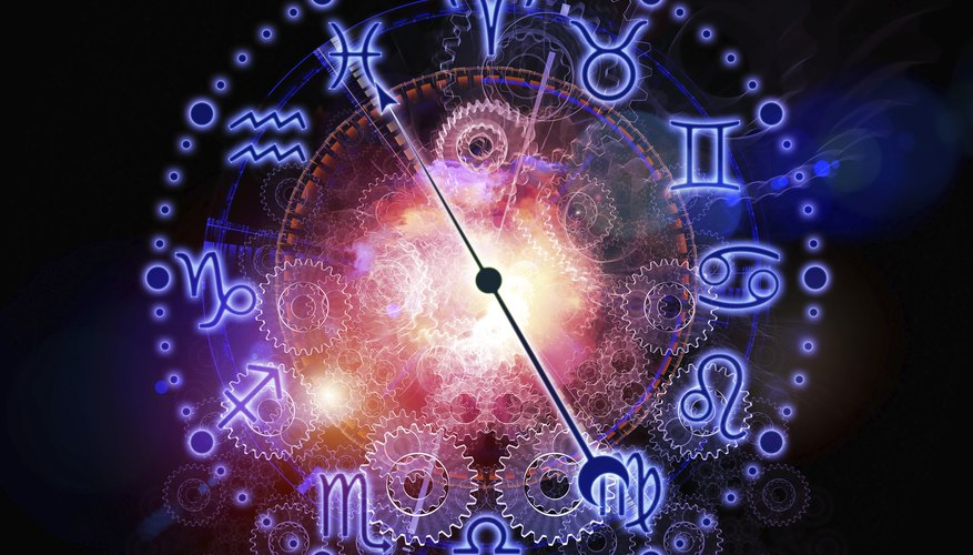 Each birth date is assigned an astrological sign and symbol.