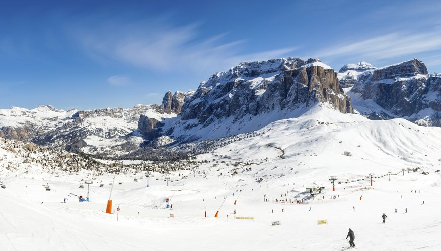 Panoramic view of Val Di Fassa ski resort in northern Italy.