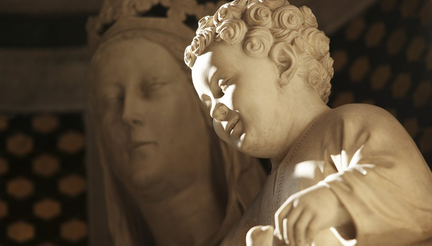 Religious statues are common decor inside Catholic churches.