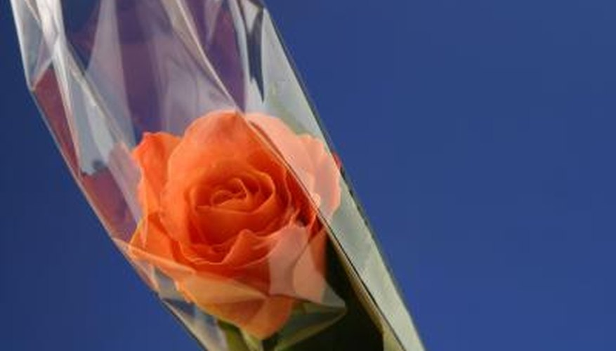 Cellophane is frequently used to wrap cut flowers.