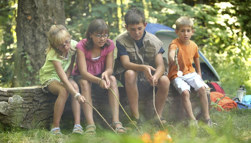 Children holding sticks in campfire