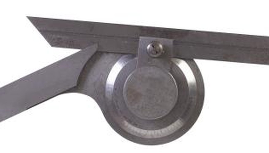 A goniometer looks like a large compass and is used to measure range of motion.