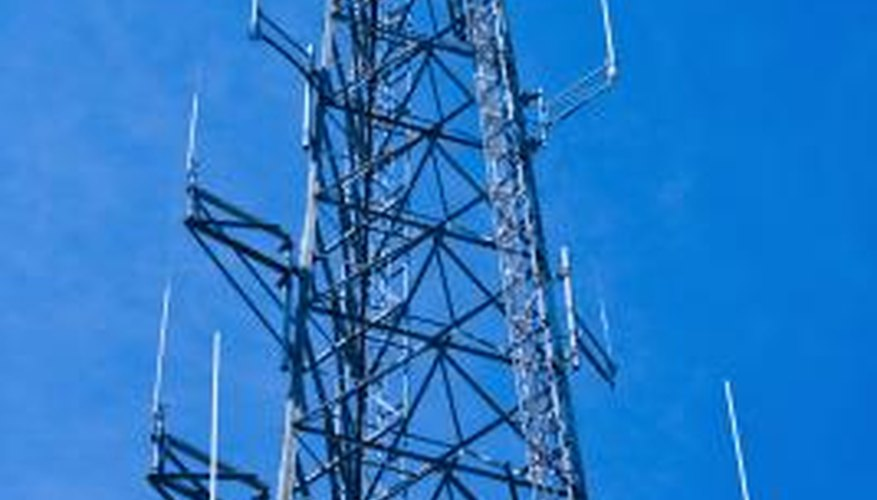 Communications towers often consist of arrays of vertical monopole antennas.