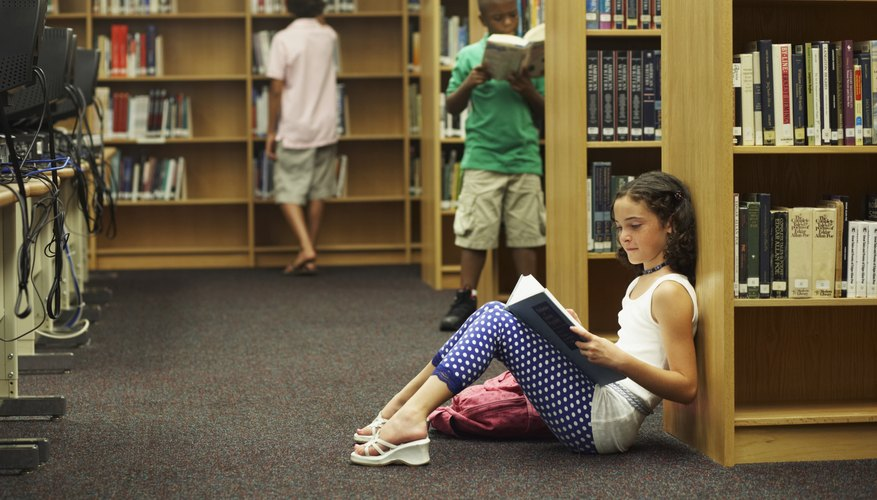 Middle school students must learn how to locate library materials.