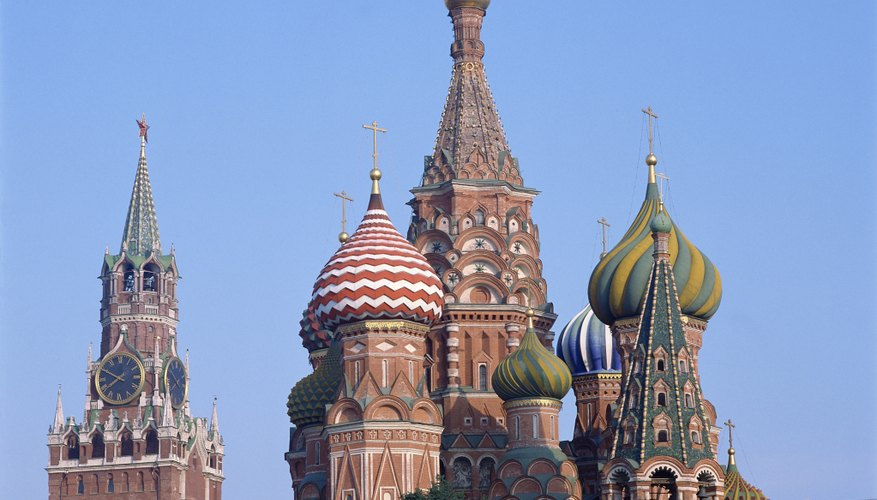 Russia is famous for onion-domed cathedrals, such as St. Basil's in Moscow.
