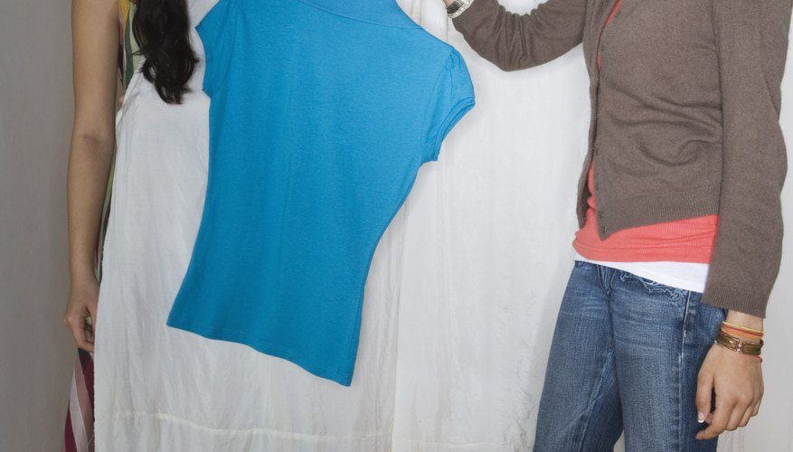 If you really want to get noticed, pair your peach jeans with a bright blue top.