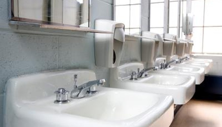 Commercial bathrooms often have multifold or c-fold paper towels to dry hands.