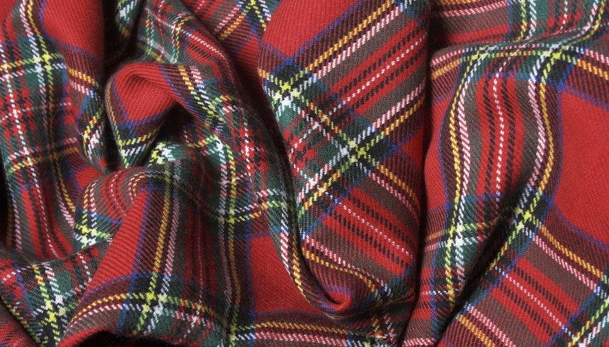 An overhead view of tartan fabric.
