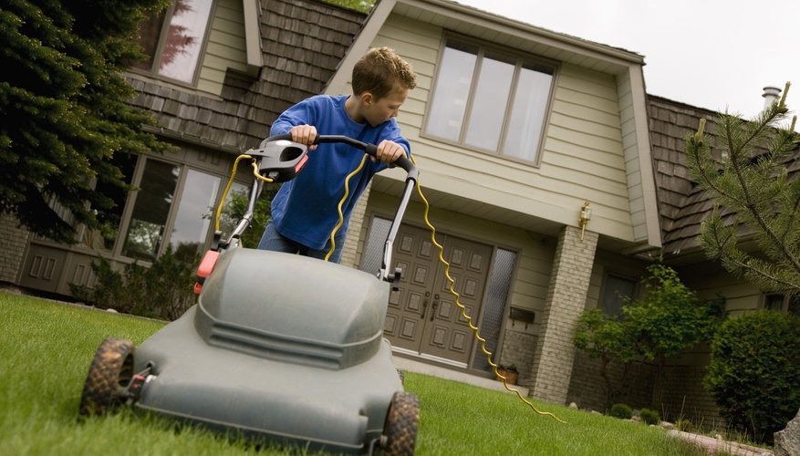 A young boy is doing chores around the house.