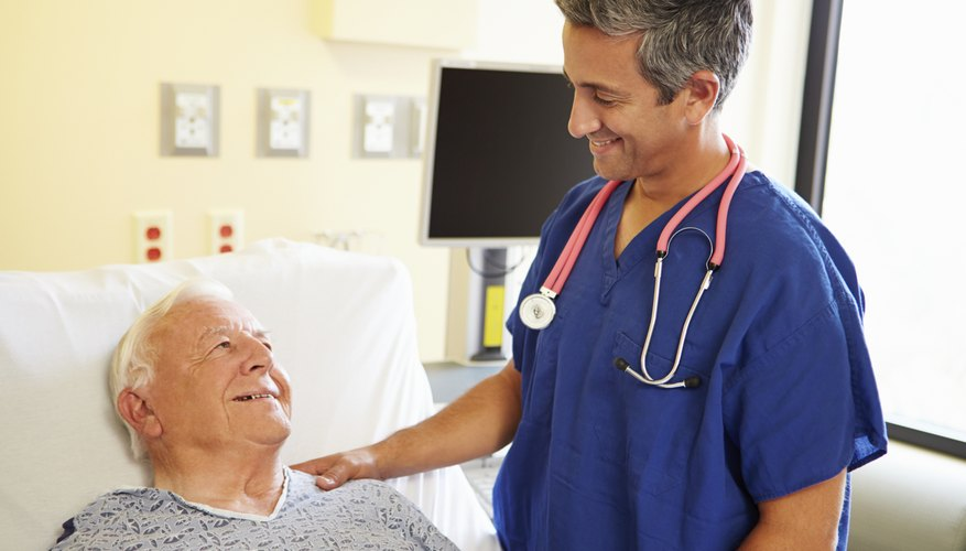 A doctor is talking to a senior patient.