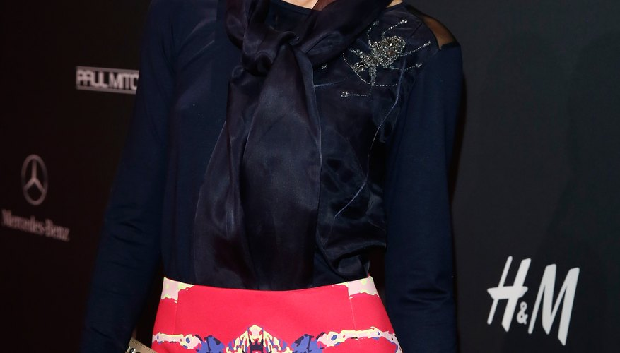 Annina Frey uses a navy blouse to temper a vibrant skirt.