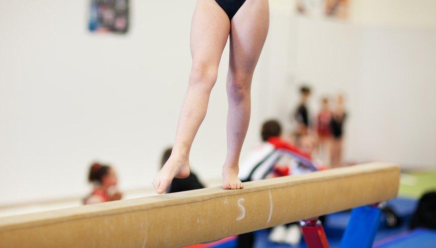 Gymnast on a balance beam.