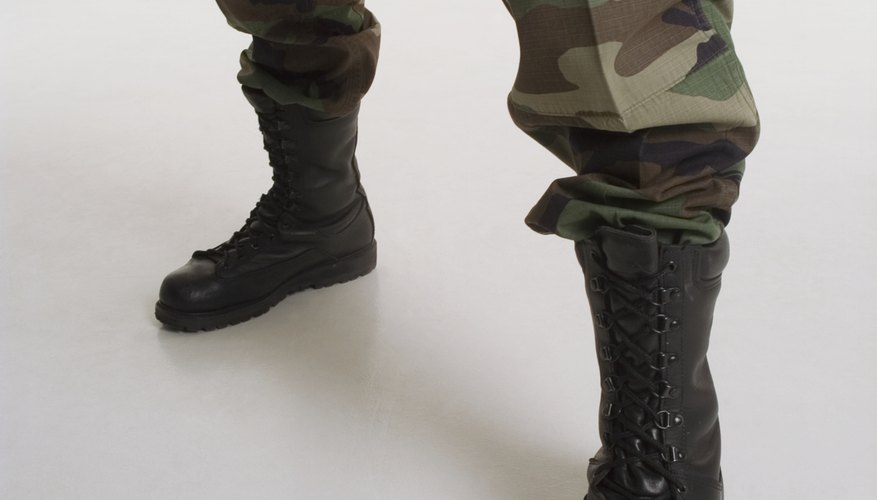 Although this uniform is no longer used by the military, boot laces must still be hidden.
