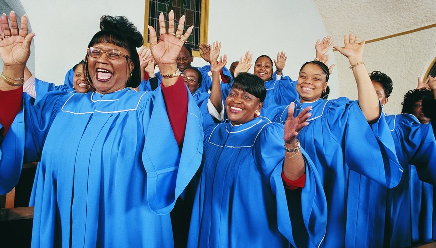 A gospel choir singing in a church.