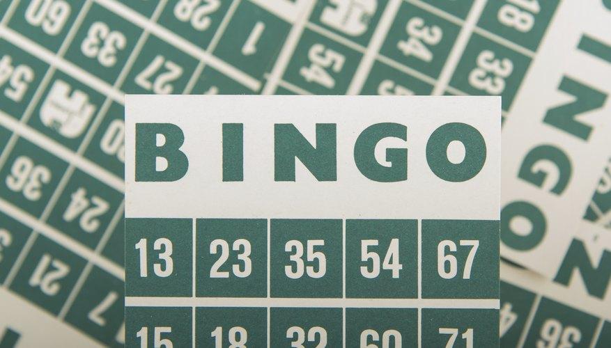 Close-up of bingo cards.