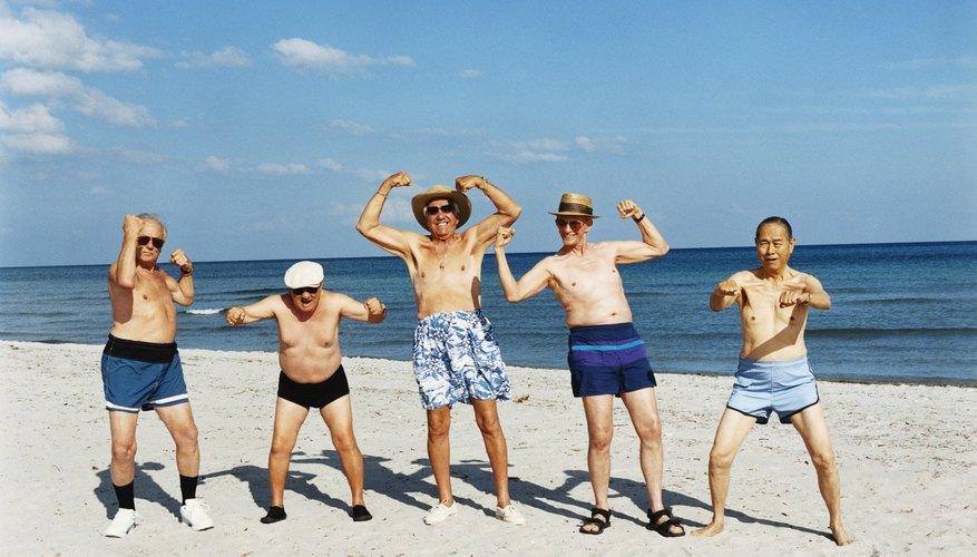 Group of senior men on beach vacation