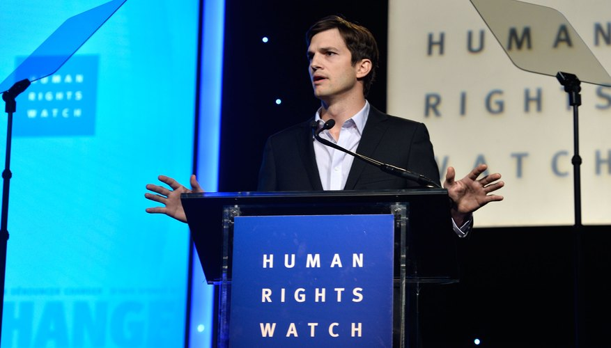 Ashton Kutcher giving speed for Human Rights Watch